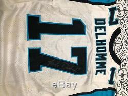 Jake Delhomme Carolina Panthers Jeu Utilisé, Maillot Signé! Hvy Utilise Captains Patch