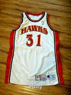 Jason Terry Jeu Usé Us Used Signé 1999-2000 Atlanta Hawks Jersey Beckett Cert