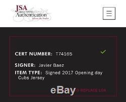 Javier Baez Signé Chicago Cubs Jeu Utilisé Or Jersey Bannière Raising Journée D'ouverture