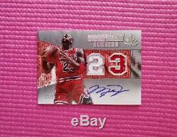 Jeu Autographe Utilisé Michael Jordan 1/1 Carte Jersey Auto 23/23 Dédicacé De Rares