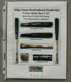 Jeu De Mike Trout Utilisé 2016 Uncracked Home Run Bat Auto Signé Angels Mvp Psadna10