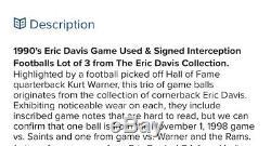 Jeu Kurt Warner Rams Interception Ball Signe Utilise 14/11/99 Football / Loa