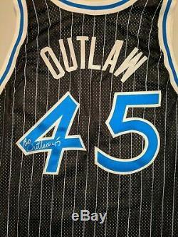 Jeu Utilise Champion Porté Bo Outlaw Orlando Magic Jersey 50 Nba Hardaway Signé