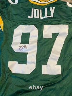 Johnny Jolly #97 Packers De Green Bay Signé Jeu Utilisé Maillot À Domicile Avec Réparations