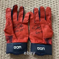 Josh Donaldson Jeu Utilisé 2019 Braves Batting Gloves Paire Autographe Signé