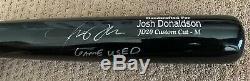 Josh Donaldson Jeu Utilisé Autograph Bat Uncracked Signe Jays Indiens Braves