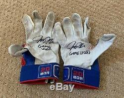 Josh Donaldson Jeu Utilisé Blue Jays Gants Batting Paire Autographe