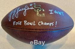 Juju Smith-schuster A Signé Usc Jeu Utilisé Football Inscrit Rose Bowl Champs