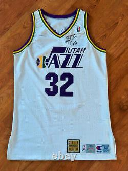 Karl Malone Utah Jazz 1992-93 Nba Signé Autographed Pro Cut Game Issued Jersey