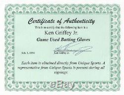 Ken Griffey Jr. Jeu Utilisé Nike Gants Frappeurs Et Signé Une Lettre D'authenticité
