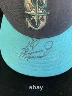 Ken Griffey Jr. Teal-colored Seattle Mariners Jeu Utilisé Autographié Mlb Hat Jsa