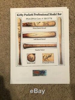 Kirby Puckett 1993 Lvs Jeu Bat Utilisée Signée Minnesota Twins Auto Psagu10