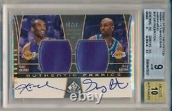 Kobe Bryant Gary Payton 2004-05 Sp Game Used Fabrics Dual Auto /50 Bgs 9 Mint
