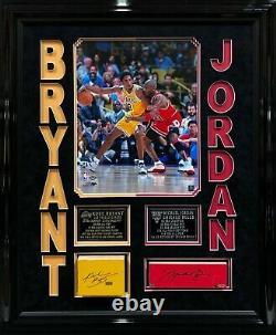 Kobe Bryant Michael Jordan Signé /jeu Encadré Utilisé Floor Lakers/bulls Uda/panini