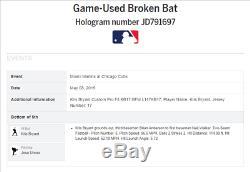 Kris Bryant Jeu Utilisé Ax Bat Chicago Cubs Signé Et Inscrit