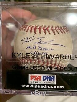 Kyle Schwarber Cubs Autographed Jeu Utilisé Mlb Débuts Baseball 16/06/2015 Mlb / Psa