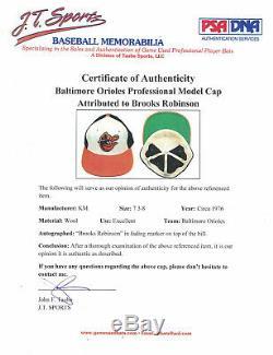 Le Jeu Signé Brooks Robinson De MID 70 Est Utilisé Baltimore Orioles Hat Cap Chap Psa Adn