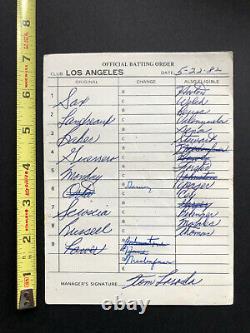 Los Angeles Dodgers Game Used Batting Order Lineup Card 1982 Signé Par Lasorda