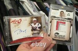 Lot Of 2 Tom Brady Leaf Q #1/10 On Card Auto & Gridiron Gear Game Used Jersey