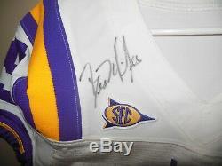 Lsu Tigers Les Miles Autographié Jeu Utilisé Football Jersey / Sucrier Patch