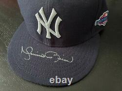 Mariano Rivera 2012 Séries Éliminatoires Jeu Signé D Occasion Worn Chapeau Yankees Cap Steiner