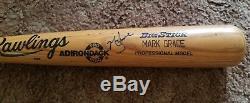 Mark Grâce Chicago Cubs 1989 Jeu Utilisé Bat Un-cracked Signé Rare