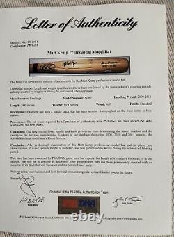 Matt Kemp Jeu Utilisé Signé La Dodgers Rawlings Baseball Bat Psa Jeu Utilisé Loa