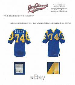 Merlin Olsen 1975 Jeu Signé D Occasion Worn Los Angeles Rams Jersey Gris Flanelle Loa