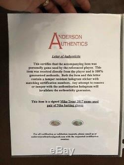Mike Trout Anderson Authentics Jeu De Gants De Frappeur Autographiés Et Anges
