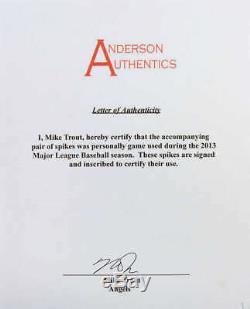 Mike Trout Autosigné 2013 Jeu Utilisé Crampons Psa / Adn Mears Anderson Auth