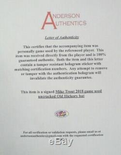 Mike Trout - Jeu Autographié Et Signé Non Utilisé - Bat Angels 2018 Anderson Aa