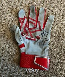 Mike Trout Jeu Utilise 2015 Batting Glove Jeu Unique Porté Signe Anges Auto