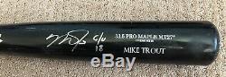 Mike Trout Jeu Utilisé Autographe 2018 Uncracked Bat Autographié Signé Angels
