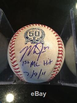 Mike Trout Jeux De Baseball Signés Inscrits Mikes 1er Coup Jeu 7/9/11 Mlb