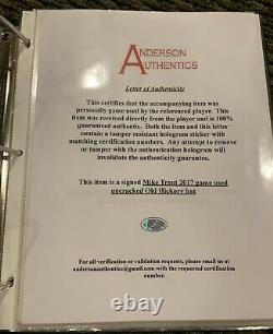 Mike Trout Los Angeles Angels Jeu Utilisé Bat 2017 Signé Uncracked Anderson Loa