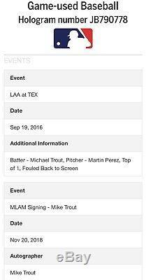 Mike Trout Nom Complet Jeu Utilisé Signé Baseball Mlb Authentifié Jeu Utilisé / Auto