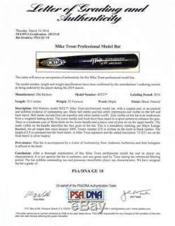 Mike Trout Signé Old Hickory 2014 Mvp Jeu Utilisé Baseball Bat Psa / Adn 10