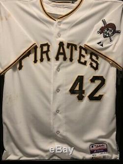 Neil Walker Pittsburgh Pirates Jeu Utilisé Jackie Robinson Chandail Autographié