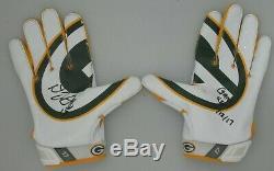 Packers Davante Adams Signé Paire Jeu D'occasion Gants De Football Nike Auto W 12.11.17