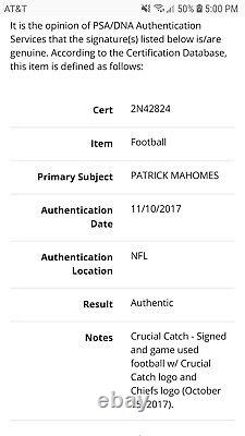 Patrick Mahomes A Signé La Saison Recrue 2017! Jeu Utilisé Football Psa Coarc Auto