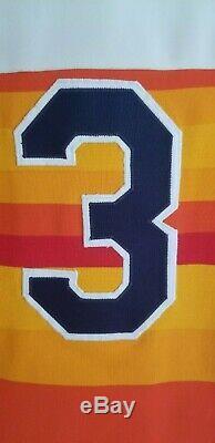 Phil Garner 1986 Jeu Astros Utilisé Jersey Arc-en-ciel Usé Autographié Patch All Star