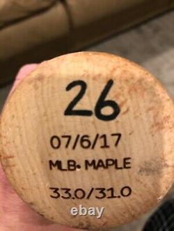Pittsburgh Pirates Adam Frazier Jeu Utilisé - Autographié Ls Bat Mlb Holo