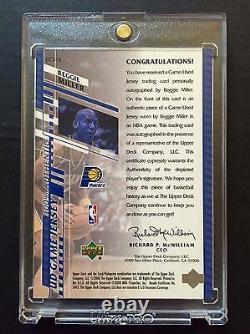 Rare 2000-01 Upper Deck Reggie Miller Jeu Used Jersey Patch 44/50 Auto Signé