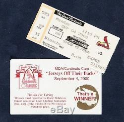 Rare 2000 Jim Edmonds Jeu Utilisé Worn Autographed Jersey St. Louis Cardinals