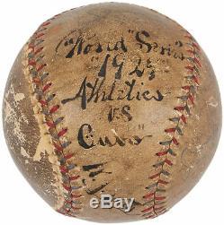 Rare Bill Klem Unique Signé 1929 World Series Baseball Jeu Occasion Jsa Hof Auto