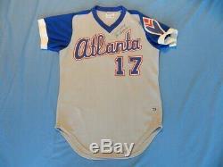 Rare Glenn Hubbard Braves Jeu Utilisé / Porté 1978 Rookie Jersey Signé
