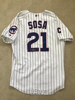 Rare Sammy Sosa Jeu Utilisé Jersey Chicago Cubs 2000 Autographié Signé Loa