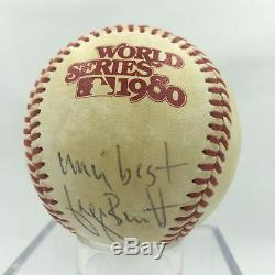 Rare Signé Par George Brett Utilisé Adn 1980 World Series Baseball Psa