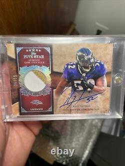 Ray Lewis 2010 Topps Five Star Game Used Patch Auto Signé Autographié /25 Rare