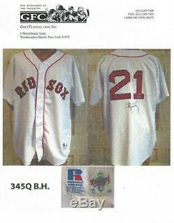 Roger Clemens Jeu Utilisé Worn 1996 Red Sox De Boston Signés Jersey Gris Flanelle